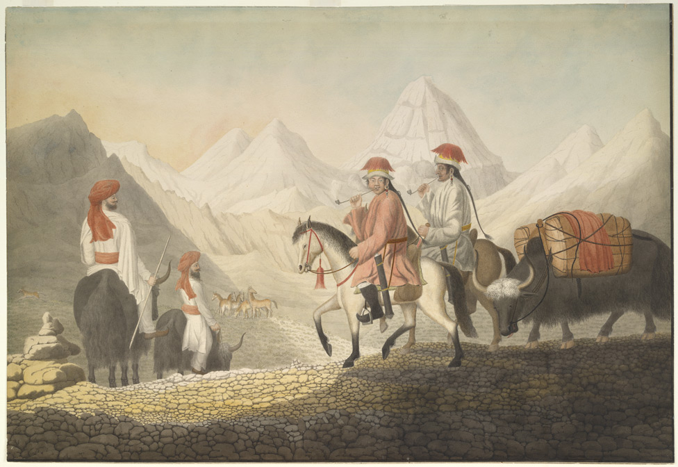 Moorcroft and Hearsay on the road to Lake Mansarowar (Tibet). The travellers, wearing Indian dress, and riding on yaks, are shown meeting two Tibetans on horseback with a loaded yak. c.July 1812